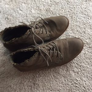 Olive green ankle lace up booties leather